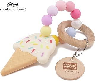 Mamimami Home おしゃれな歯固め シリコーンアイスクリーム ガラガラ 木製リング 赤ちゃんの噛がため おしゃぶり おもちゃ 新生児贈り物