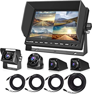 """Backup Camera for RV Bus Truck, 4 Car Cameras and 7"""" Quad Split Screen, Waterproof and Night Vision, 1 Rear Camera+1 Front... photo"""