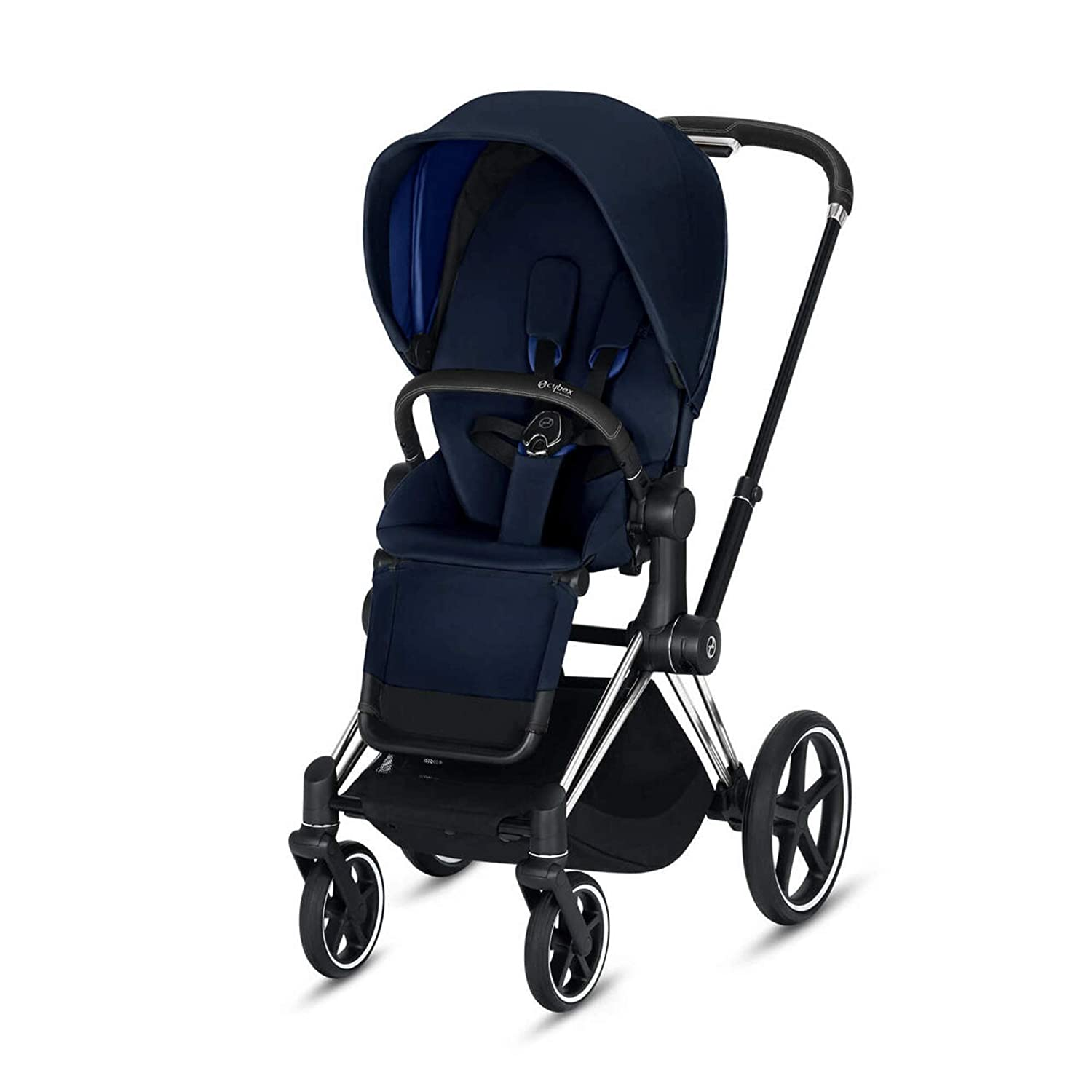 Cybex Priam 3 Complete Stroller, One-Hand Compact Fold, Reversible Seat, Smooth Ride All-Wheel Suspension, Extra Storage, Adjustable Leg Rest, Indigo Blue with Chrome/Black Frame