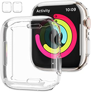 [2 Pack] Apple Watch Series 7 45mm Screen Protector Case,JZK Soft Slim TPU All Around Protective Shell Anti-Scratch Bumper Cover Case for Apple Watch Series 7 45mm Accessories,Clear+Clear