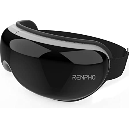 RENPHO Eye Massager with Heat, Compression, Wireless Music Rechargeable Eye Therapy Massager for Relieve Eye Strain Dark Circles Eye Bags Dry Eye Improve Sleep(Black)