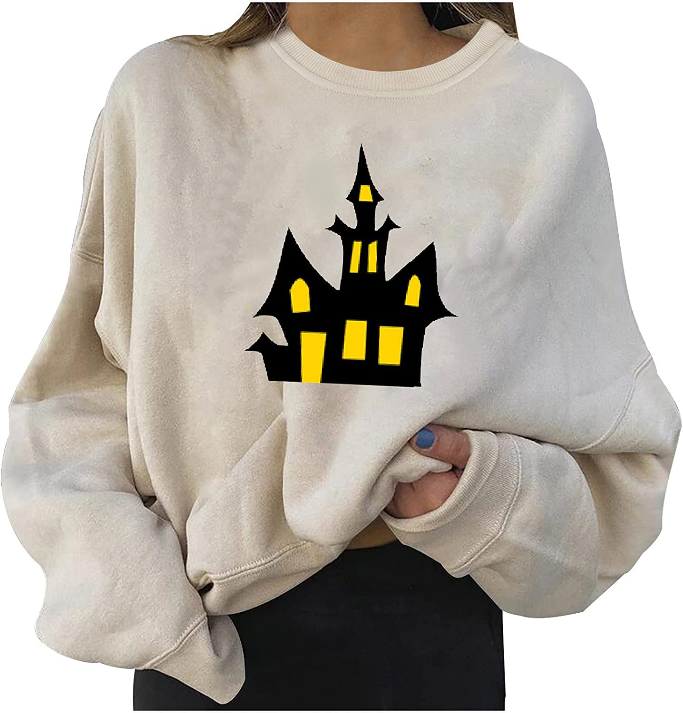 Halloween Women Fleece Pullover Hoodies Fashion Funny Graphic Tops Casual Long Sleeve Crewneck Fall Winter Sweatshirt