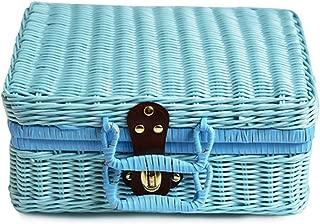 Vintage PP Wicker Picnic Suitcase Food Holder Travel Storage Fruit Imitation Rattan Storage Basket Handmade Woven Handbag,26x16x10cm,Blue