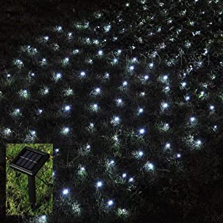Solar Net Lights Outdoor,Led Mesh Lights,4.9ft x 4.9ft,100 LEDs Tree-Wrap Christmas Lights Holiday Fairy String Lights for Homes Patio Party Lawn Window Wall Decoration-Dark Green Cable,8 Mode,White