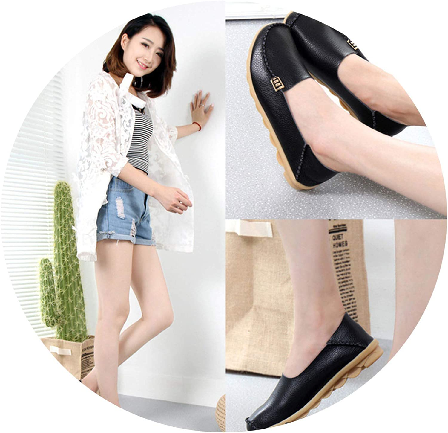 Don't mention the past Women shoes Plus Size Flat shoes Women Genuine Leather Loafers,Black,5