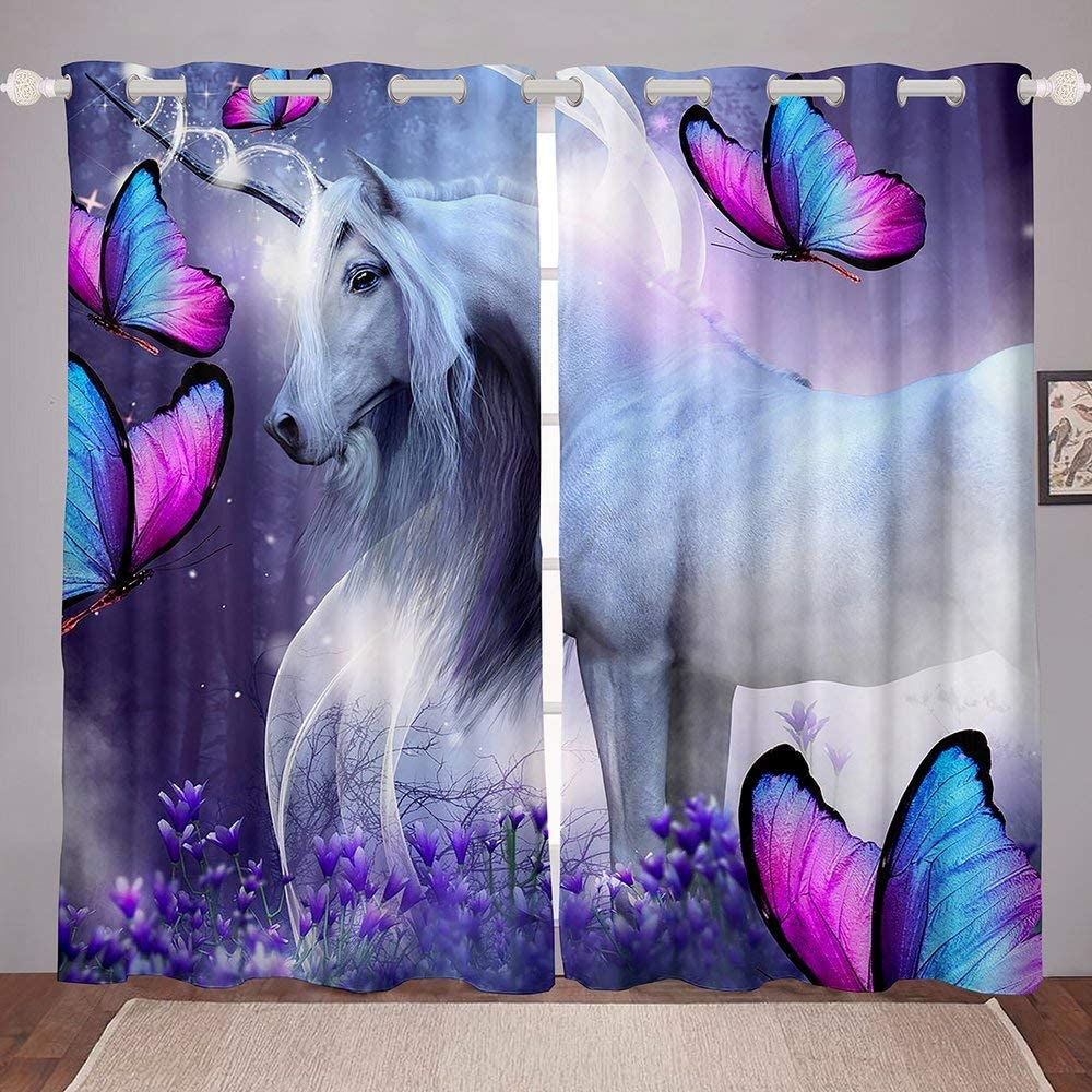 Erosebridal Horse Curtains Fly Viole Window Chicago Mall Butterfly ! Super beauty product restock quality top!