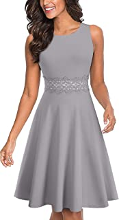 Women's Sleeveless Cocktail A-Line Embroidery Party Summer Wedding Guest Dress A079