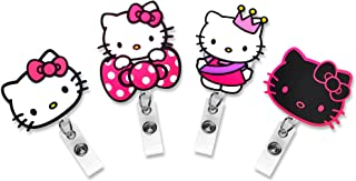 Finex Set of 4 Hello Kitty Badge ID Clip Reel Retractable Holder Office Work Nurse Name Badge Tag Clip On Card Holders Cute - 30 inch Cord Extension