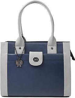 Butterflies Women's Handbag (BNS 0764BL_Blue & Grey)