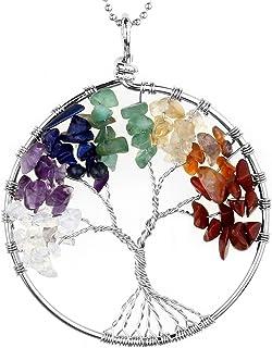 JOVIVI Ciondolo con gemme chakra a forma di albero della vita, ciondolo con catenina da 56cm, collana unisex con alb...