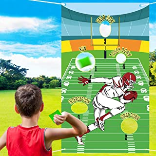 Football Toss Game with 3 Bean Bags - Indoor Outdoor Bean Bag Game Sets - Sport Throw Theme Cornhole Games Party Supplies Decor Banner Backdrop for Children Adults Friends Picnic Travel Activities