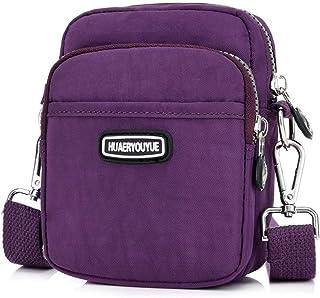 Travel Essential, Stylish and Durable Shoulder Waterproof Diagonal Nylon Small Belt Bag (Color : Purple, Size : 17x6x12cm)