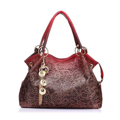 76de9b1f68 Realer Women s Designer Handbags Tote Purse PU Leather Fashion Top Handle  Bags