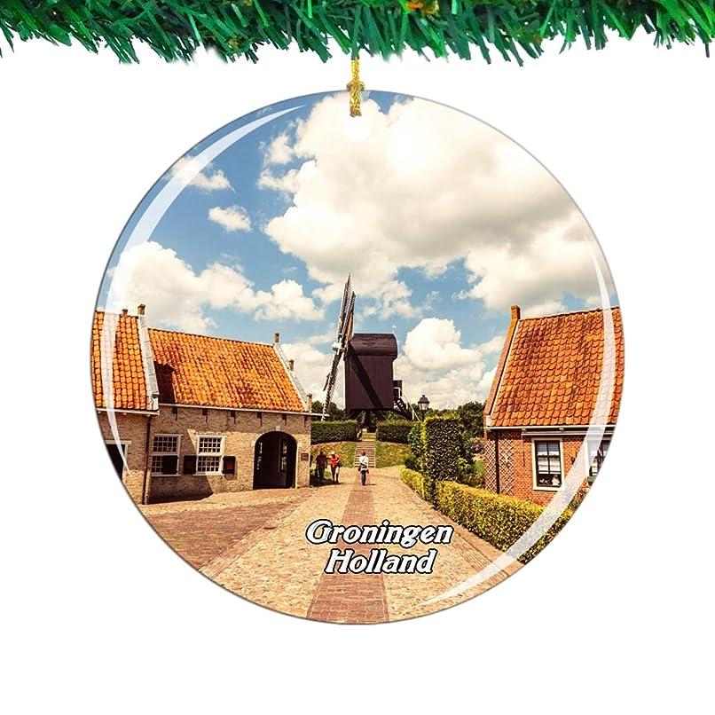 に応じて鳩触覚Weekino Holland Bourtangeグローニンゲンクリスマスオーナメントシティ旅行お土産コレクション両面 磁器2.85インチ ぶら下がっている木の装飾