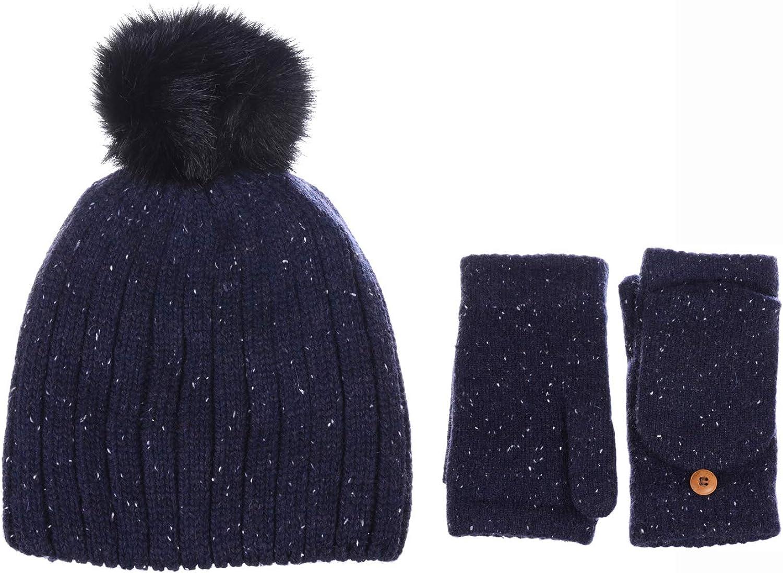 BYOS Womens Speckled Fleece Lined Knit Beanie Hat & Fingerless Mitten Gloves Set