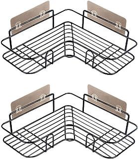 Bathroom Corner Shower Caddy,Shower Organizer Shower Shelf Shower Storage with 8 Pack Powerful Adhesive Hooks (Black)