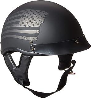 TORC Unisex-Adult Half-Size-Helmet-Style T53 Black Hills Motorcycle Half Helmet with Graphic Flag