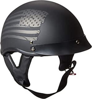 TORC Unisex-Adult Size Style T53 Hills Motorcycle Half Helmet with GraphicFlag (Flat Black,  Small)