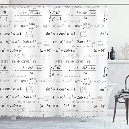 Ambesonne Back To School Shower Curtain School For Math And Geometry With Science Formulas Chalk Board Style Image Cloth Fabric Bathroom Decor Set With Hooks 75 Long Black And White Home