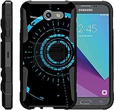 TurtleArmor | Compatible with Samsung Galaxy J3 Emerge Case | J3 (2017) [Hyper Shock] Armor Rugged Hybrid Kickstand Impact Holster Belt Clip - Blue Tron Target