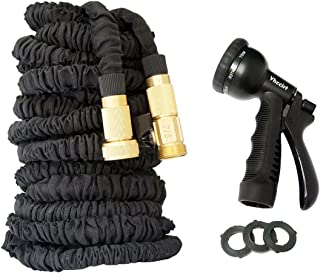 "Vhccirt Expandable Garden Hose Flexible Water Pipe 150ft 3/4"" Solid Brass Connector 8 Function Nozzles Sprinkler"