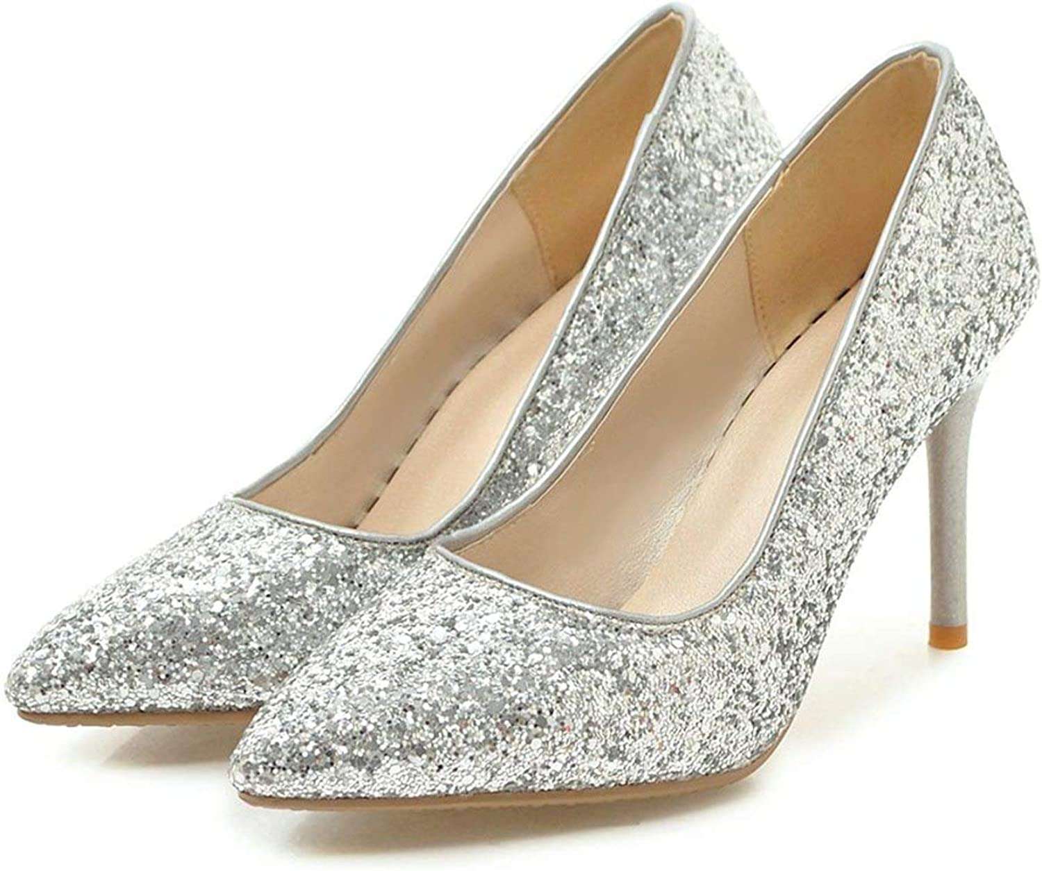 Sexy Thin Heel Pumps shoes Woman gold Silver Red colors Sequin Cloth Stiletto Party Wedding shoes