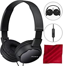 Sony MDRZX110AP ZX Series Extra Bass Smartphone Headset with Mic (Black) and Fibertique Cloth