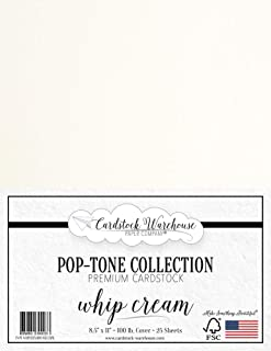 Whip Cream White Cardstock Paper - 8.5 x 11 inch 100 lb. Heavyweight Cover -25 Sheets from Cardstock Warehouse