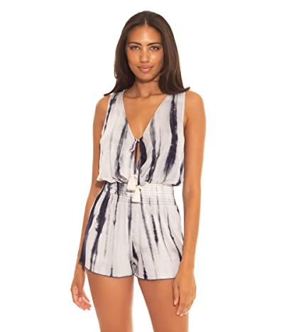 BECCA by Rebecca Virtue Tide Pool Rayon Short Romper Cover-Up (Midnight Blue) Women