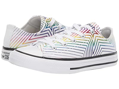 Converse Kids Chuck Taylor All-Star All of the Stars Ox (Little Kid/Big Kid) (White/White/Black) Girls Shoes