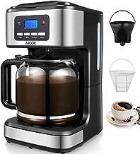 Aicok Cafetera, Cafetera Goteo, Cafetera Goteo Programable, Cafetera Goteo Filtro Permanente, Jarra de Vidrio, 1.5 litros, 12 Tazas, 900W, Negro (Aicok Cafetera)