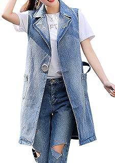 Springrain Women's Notch Lapel Sleeveless Outerwear Denim Vest Coats
