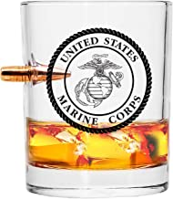 Officially Licensed USMC Whiskey Glass – Hand Blown Glasses – Real Projectile – Marine Corps Gifts – 8 Oz.
