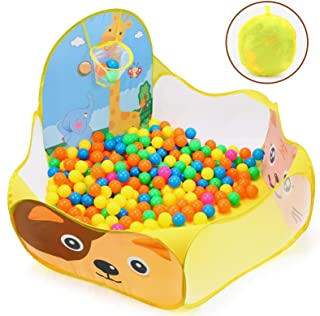 BEAURE Ball Pit for Kids - 6-Sided Pop-Up Play Tent Playpen for Toddlers and Baby - Portable Fun Playhouse Ball Pit Pool with Basketball Hoop Toys for Indoor / Outdoor, Balls Not Included