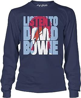 تي شيرت بأكمام طويلة من Liquid Blue David Listen to Bowie Aladdin Sane
