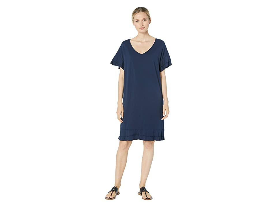 Mod-o-doc Cotton Modal Tiered Flounce Sleeve Shift Dress (True Navy) Women