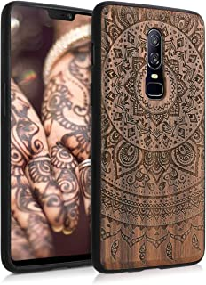 kwmobile Wooden Case for OnePlus 6 - Hard Case with TPU Bumper - Indian Sun, Walnut