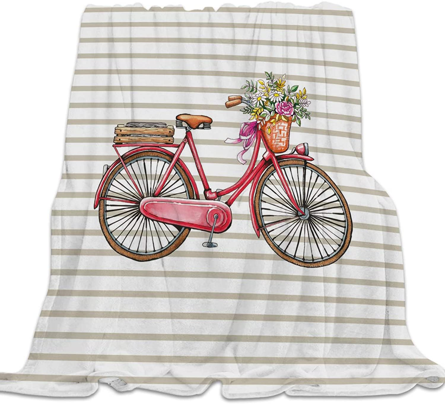 Clouday Flannel Fleece Bed Blanket Warm ThrowBlankets for Girls Boys,Cozy Lightweight Blankets for Bedroom Living Room Sofa Couch,Hand Painting Bicycle with Flower Stripe Prints,49x59inch