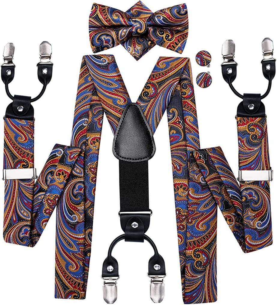 WSSBK Men's Suspenders Set Leather Metal 6 Clips Braces Gold Brown Paisley Men Elastic Wedding Suspenders Men (Color : A, Size : Adjustable)