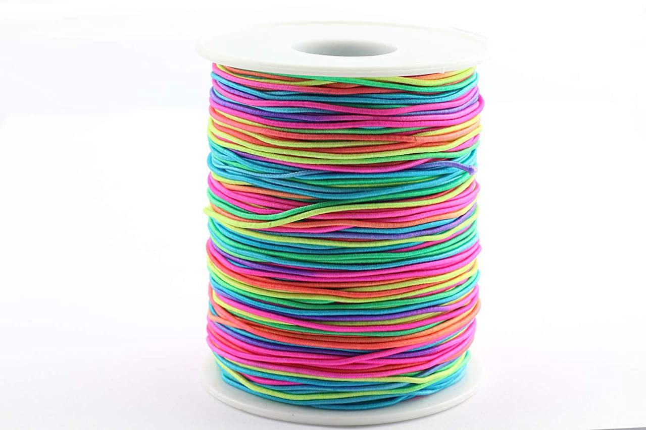 RuiLing 100m/Roll 1mm Round Elastic Cord Jewelry Making Supply DIY Bracelet Beading Wire Stretch Nylon Thread/String/Rope Colorful