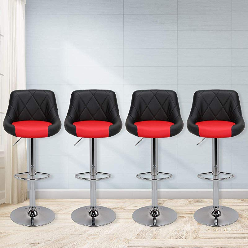 Magshion Faux Leather Bar Stools Adjustable 360 Degree Swivel Backrest Footrest Barstool Set Of 4 Style02 Black Red