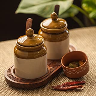ExclusiveLane Old Fashioned Ceramic Jars With Hand Carved Tray - Pickle Container Set Condiment Containers Pickle Holder Storage Containers Spice Jars Decorative Tray Jars With Lids Masala Dabba India