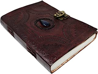 Large Leather Journal Celtic book of shadows blue stone blank refillable personal Diary with lock gift for writers