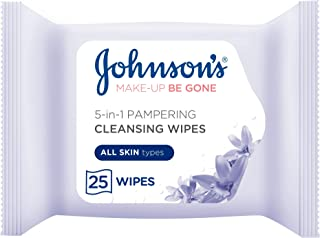 JOHNSON'S Pampering Face Cleansing Wipes All Skin Types, 25'S