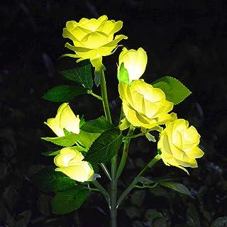 [Upgraded 6 Flowers]Solar Powered Artificial Rose Flower Lights,Waterproof Outdoor Garden Accent Lighting for Summer Count...