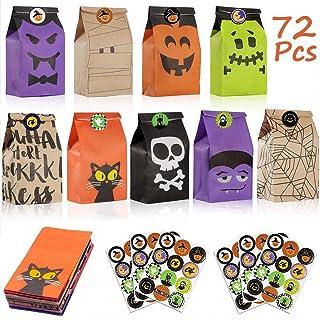 Viccess Sacchetti di Carta, 72 Piccolo Halloween Sacchetti di Caramelle Sacchetti Regalo di Carta con 72 Halloween Sticker...