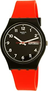 Swatch Unisex Black Dial Silicone Band Watch - GB754