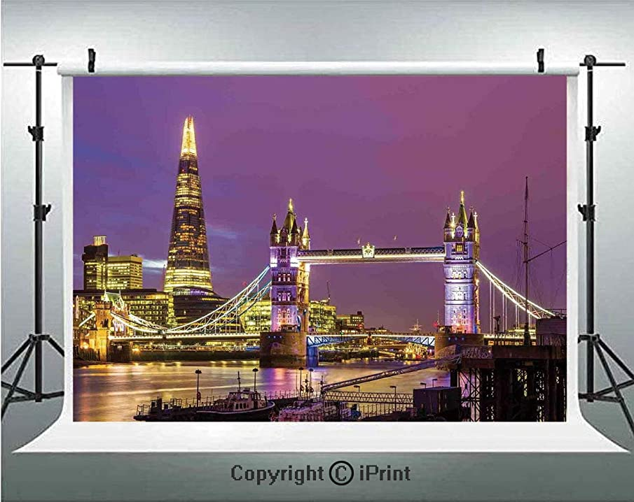 London Photography Backdrops Tower Bridge in London at Night Historical Cultur Monument Europe British Urban Decorative,Birthday Party Background Customized Microfiber Photo Studio Props,7x5ft,Purple