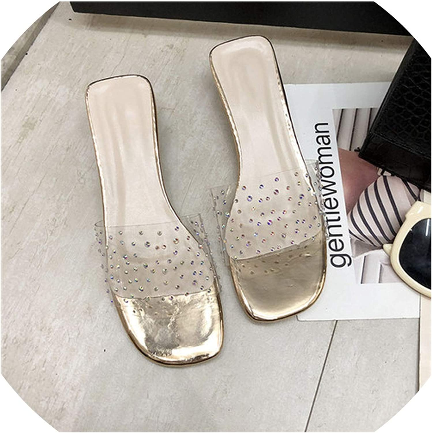 goldsmyth Rubber Slippers Low Sliders Beach Summer Ladies Lace Up Sandals PVC Female Chunky Heel,1,39