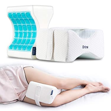 Elviros Memory Foam Knee Pillow with Adjustable Strap, Premium Cooling Gel Orthopedic Leg Positioner Pillow Support Wedge for Pregnancy, Side Sleepers, Hip, Back, Spine Alignment & Pain Relief